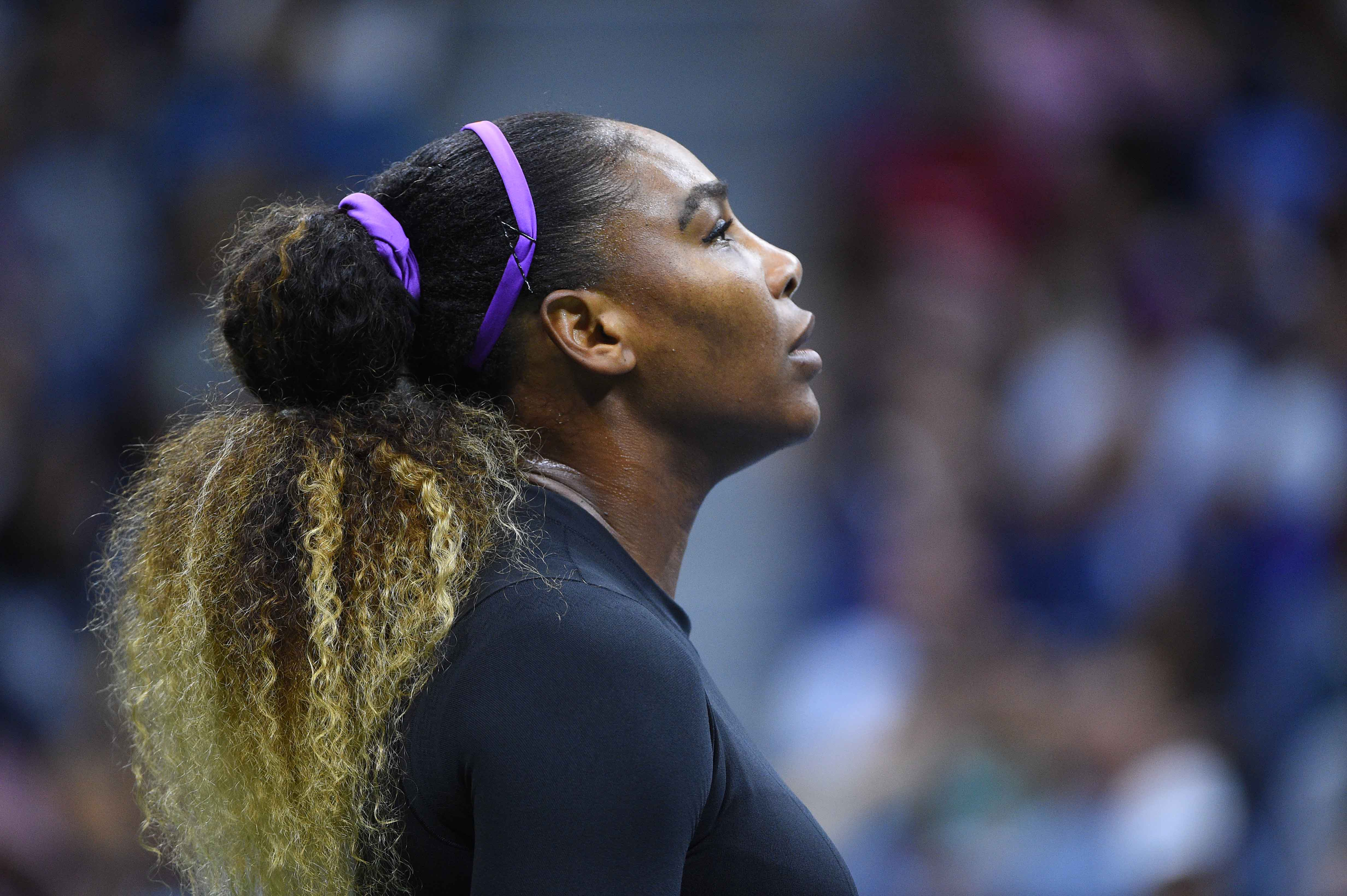Serena Williams portrait during her first round match at the US Open 2019