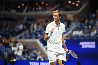 Daniil Medvedev fist pumping during the 2019 US Open