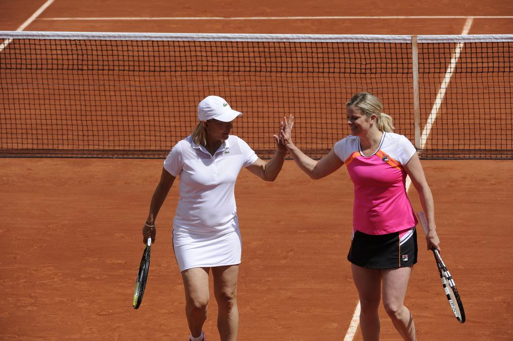 Martina Navratilova and Kim Clijsters Trophée des Légendes Roland-Garros
