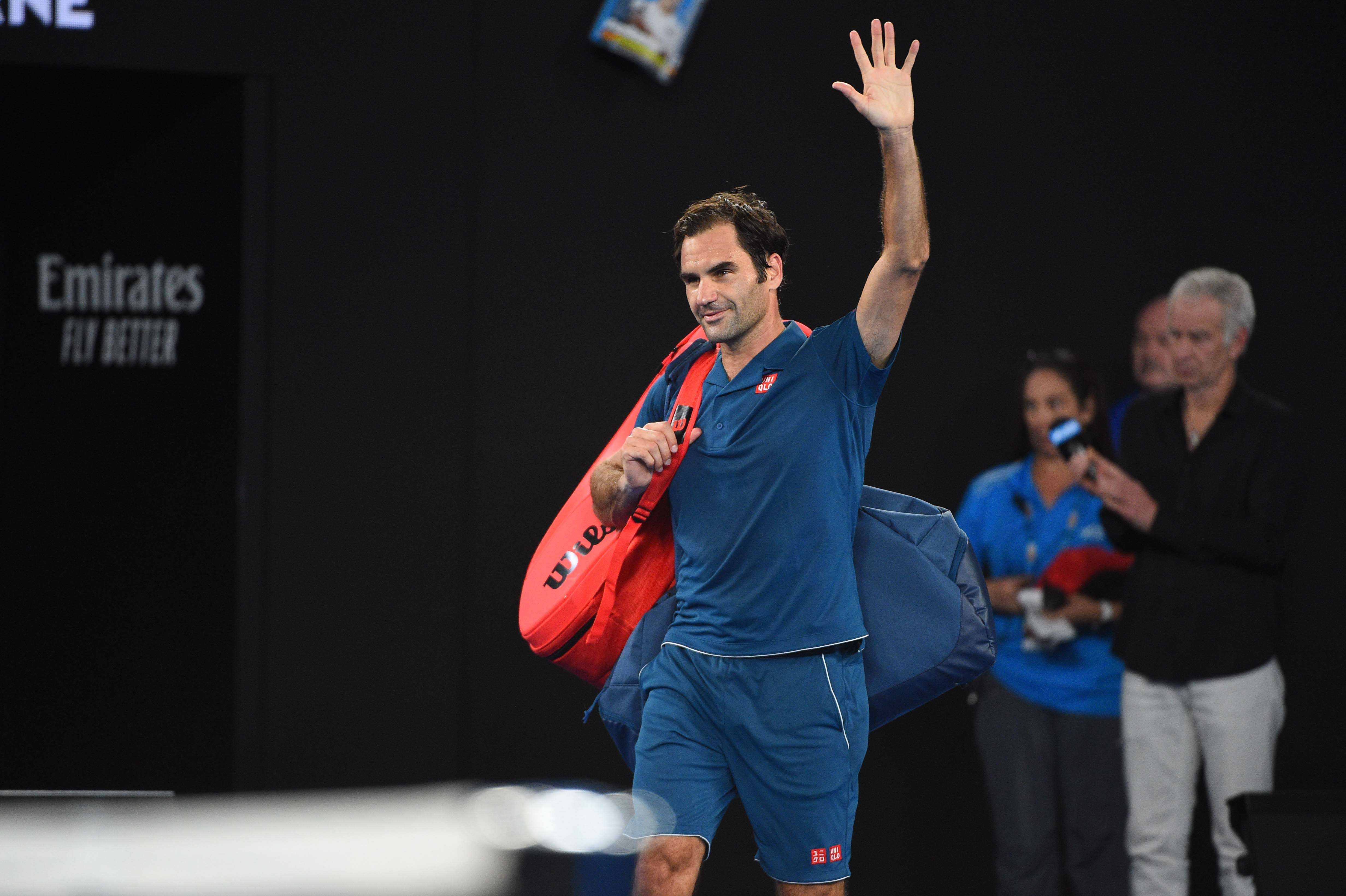 Roger Federer waving the crowd goodbye at the Australian Open 2019