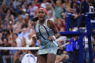 Coco Gauff shouting durinh her second round match at the 2019 US Open