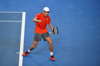 Alex De Minaur shouting for victory AUstralian Open 2019