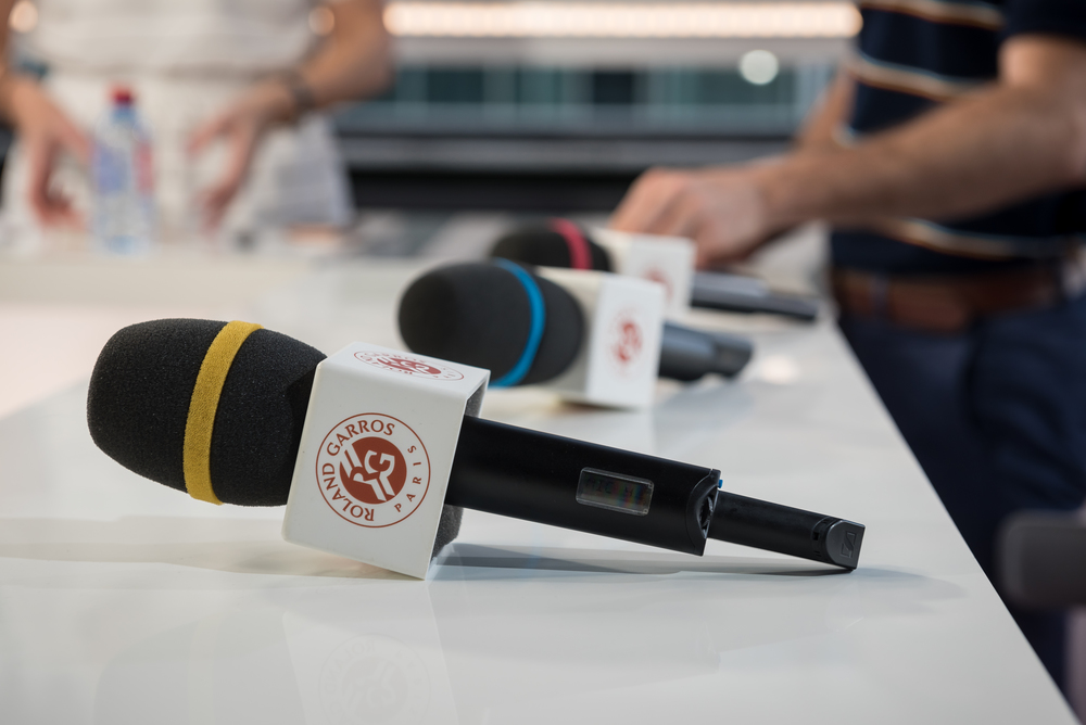 Microphones on Live at RG set Roland-Garros 2018