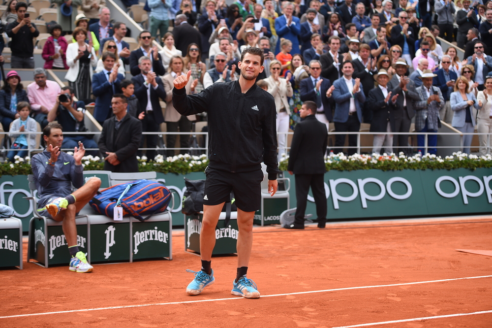Dominic Thiem wawing to the crowd ahead of the trophy presentation Roland-Garros 2019