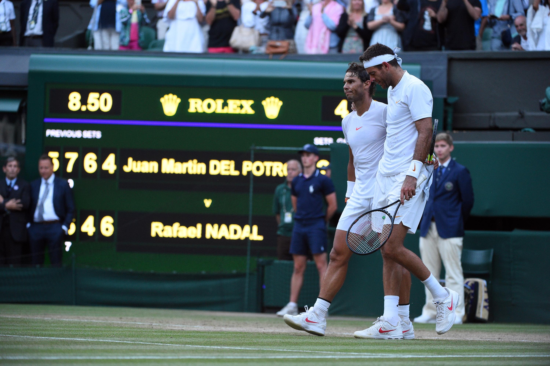 Rafael Nadal and Juan Martin del Potro Wimbledon 2018
