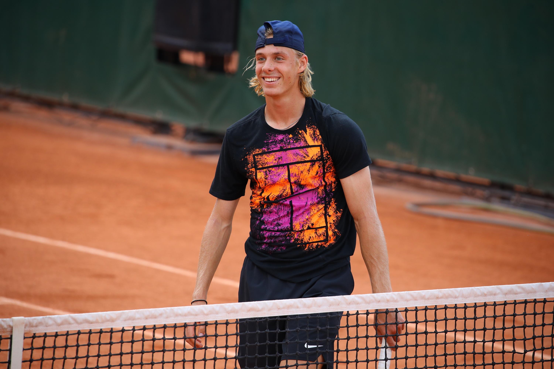 Denis Shapovalov smiling at practice during Roland-Garros 2018