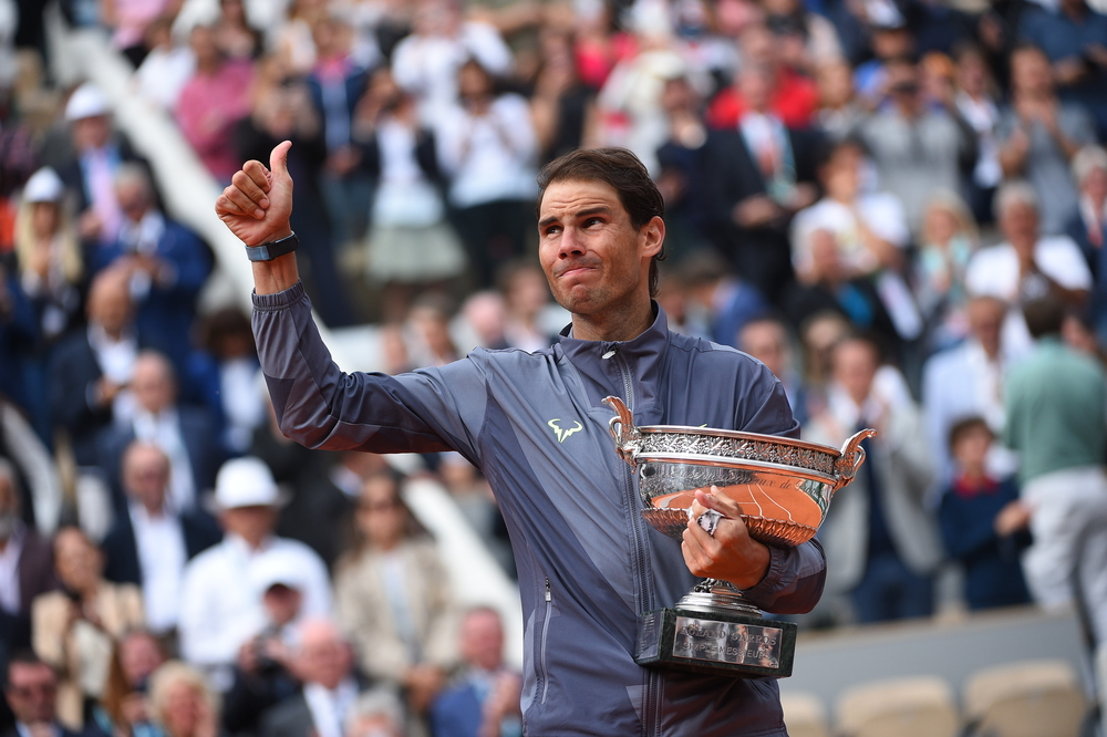 Rafael Nadal thumbs up trophy Roland Garros 2019