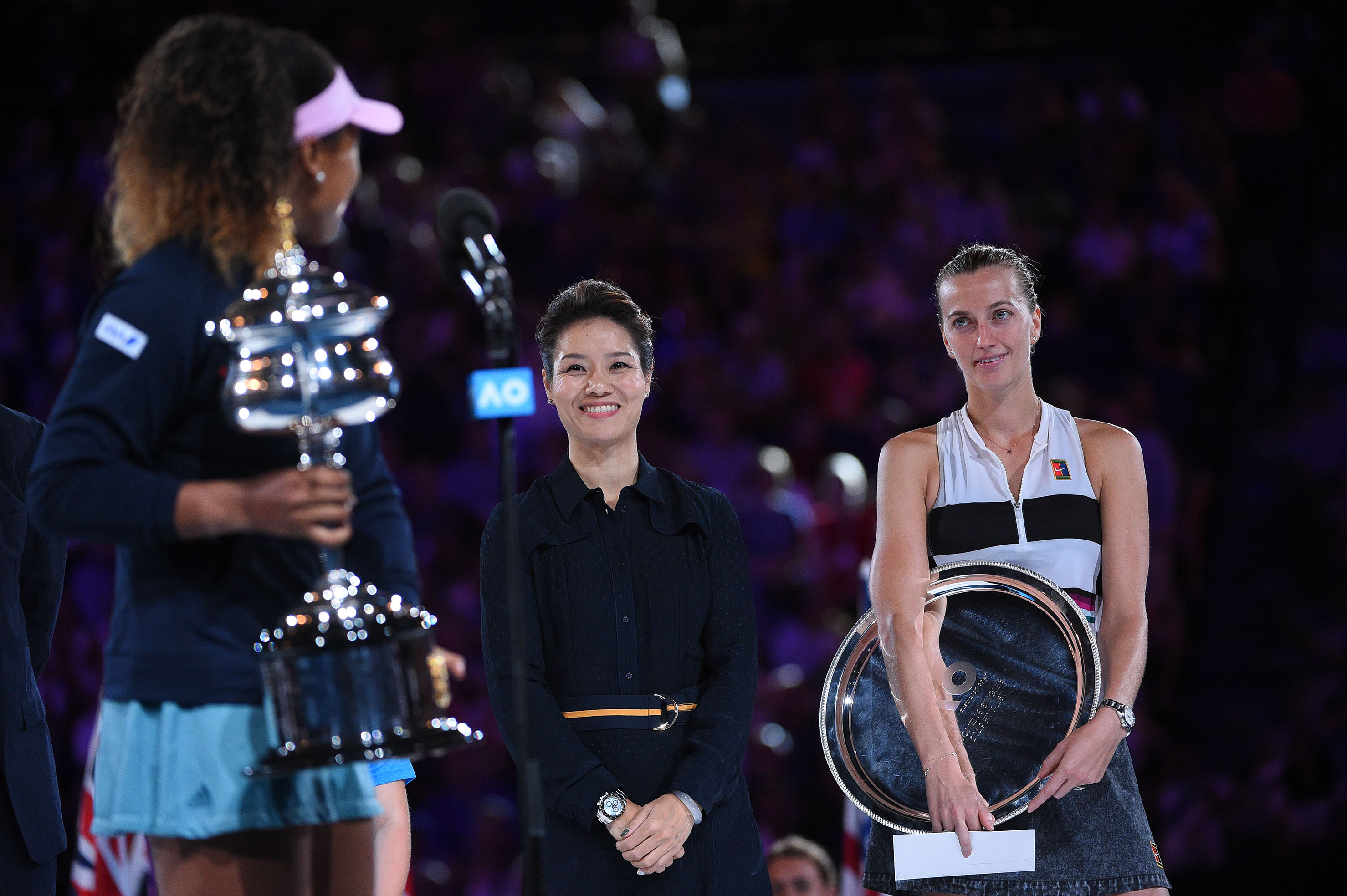 during the trophy presentation athe 2019 Australian Open